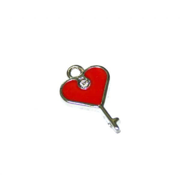 1pce x 19*14mm rhodium plated dark red lock key with heart enamel charm - SD03 - CHE1112